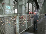 Engraved locks as public pledges on a bridge in Cologne.jpg
