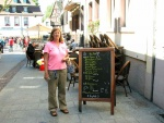 Sue and a Strasbourg Menu.jpg